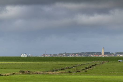 The village of West Terschelling seen from the island of Terschelling in the northern Netherlands