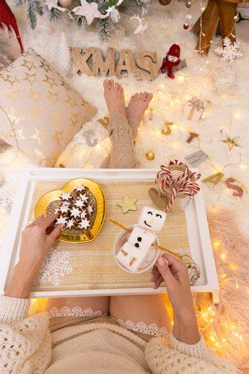 Enjoying hot cocoa and festive gingerbread at Christmas time