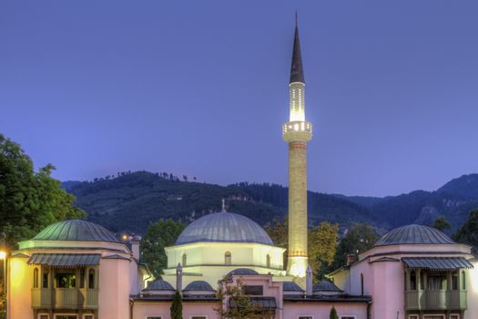 Emperor's Mosque in Sarajevo on the banks of the Milyacka River by night, Bosnia and Herzegovina