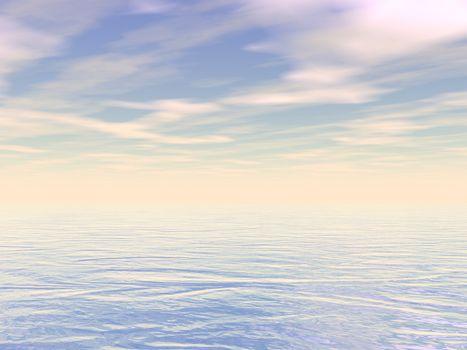 Peaceful ocean or sea water by cloudy sunset - 3D render