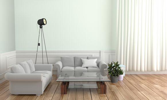Living room Interior Design - Scandinavian style. 3D rendering