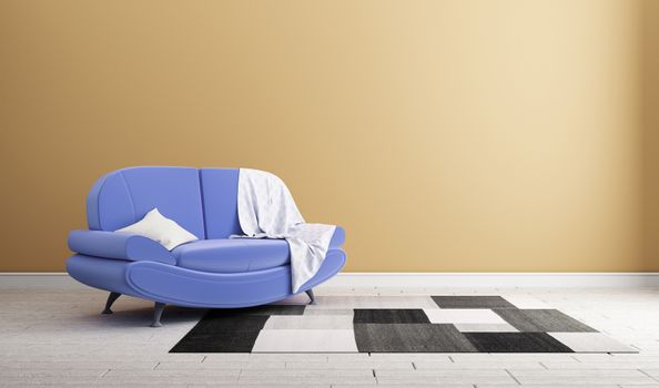 Design concept sofa on wall modern interior .3d rendering