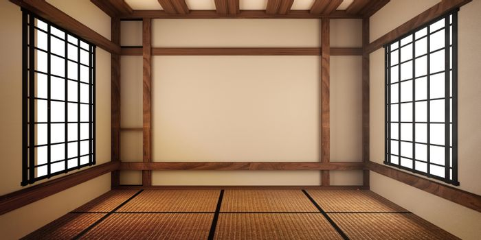 Empty Room japanese with tatami mat design . 3D rendering