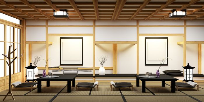 Living room with bonsai on table low ,wood floor and tatami mat.