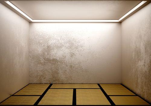 Room japanese with tatami mat design . 3D rendering