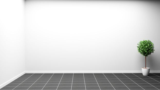 room interior design with white wall on black tile. 3D rendering
