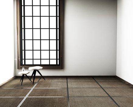 interior design,modern living room with chair, floor tatami mat