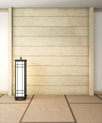 Empty zen room very japanese with lamp and tatami mat floor, wal