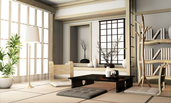 Ryokan living room japanese style with tatami mat floor and deco
