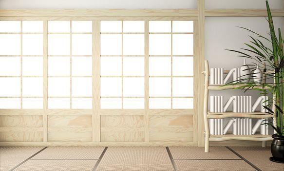 ryokan Room empty zen very japanese style with tatami mat floor.