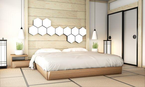 Bedroom zen interior design with tatami mat floor and hexagon la