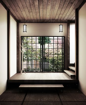 Japanese empty room tatami mat Designing the most beautiful. 3D