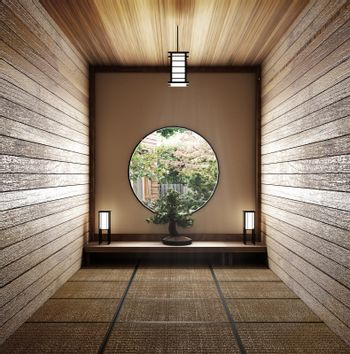 Room minimal design with Tatami mat floor and Japanese, empty ro