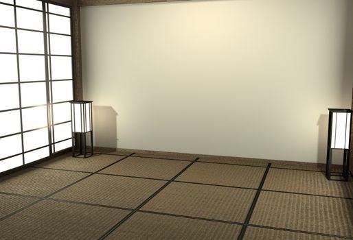 Empty Japanese living room interior minimal design with Tatami m