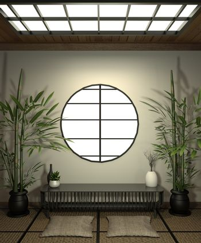 Room minimal design with Tatami mat floor and decoration Japanes