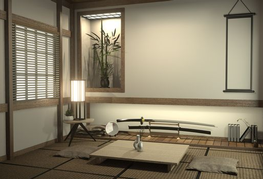 Japan room with tatami mat floor and decoration japan style was