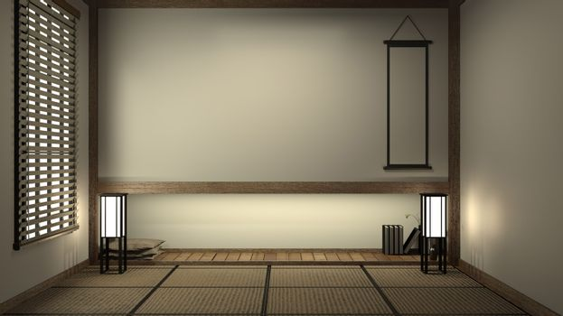 Empty Japanese living room interior minimal design with Tatami mat floor and Japanese Shoji door and decoration japan style 3D rendering