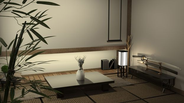 japan living room tatami mat and traditional japanese decoration