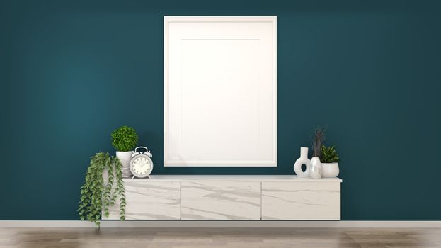 Mock up frame on granite cabinets in a dark green room and decor