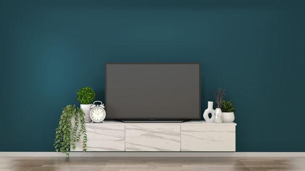 Mock up smart tv on granite Cabinets in a dark green room and de