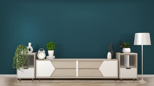 Mock up frame on wooden Cabinets TV in a dark green room and dec