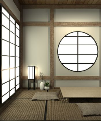 Mock up Japan room with tatami mat floor and decoration japan st