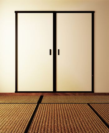 Door and tatami mat on wall empty background Japanese style. 3D