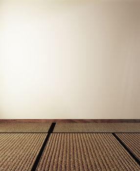 Tatami mat floor on empty wall background. 3D rendering