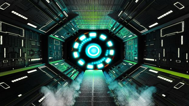 Spaceship Interior,Sci-fi style.3D rendering