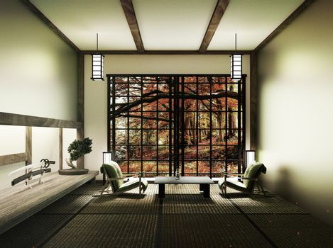 Spring room with bonsai tree and low table on tatami mat and win