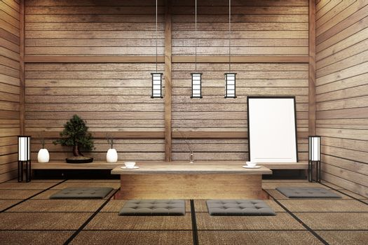 living room interior in and minimal design with Tatami mat floor