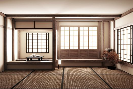 interior design,modern living room with table on tatami mat floo