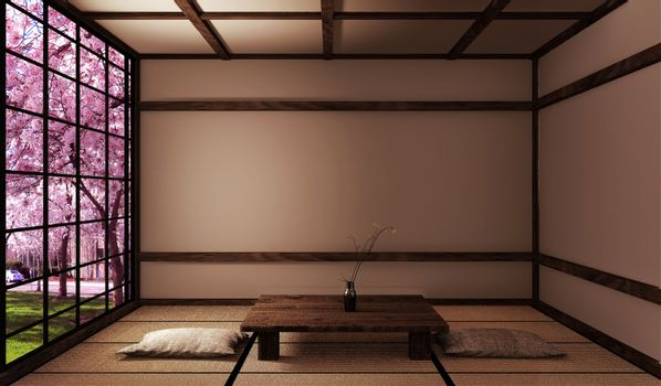 Living room with low table on tatami mat and window view sakura