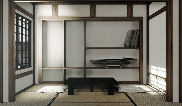 tatami mats and paper window in Japanese room style. 3D renderin