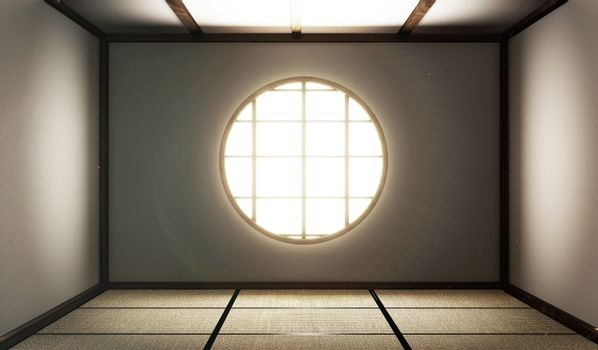 room empty with Tatami mats and paper window on room zen style.3