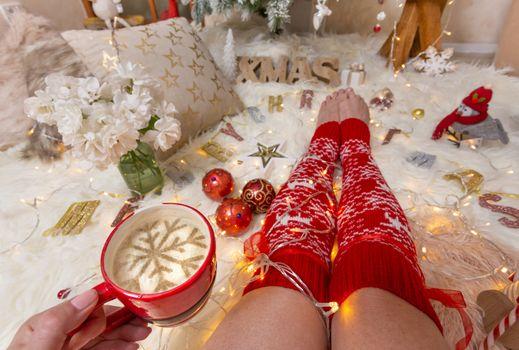 Enjoying cappuccino at Christmas time