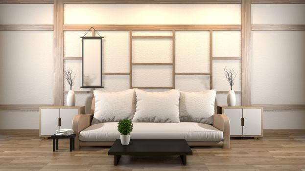 interior design zen living room with low table,pillow,frame,lamp