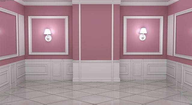 Empty luxury room interior moulding design with wall on granite tile floor. 3D rendering