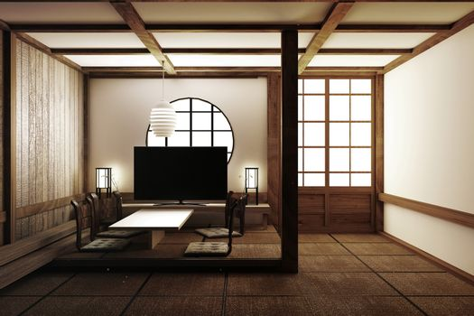 Most beautiful design interior design,living room with Tv,armchair,tatami floor and white wall in room japanese style. 3d rendering