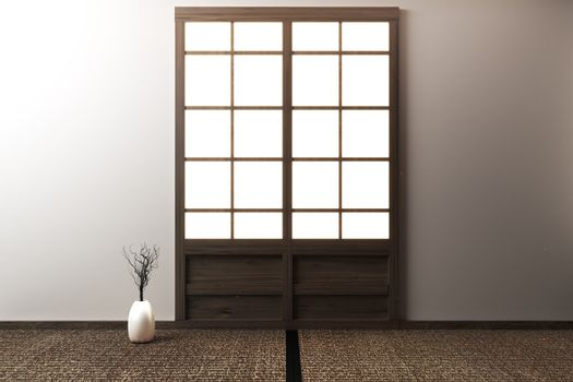 room empty with Tatami mats and paper sliding doors called Shoji