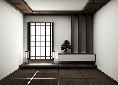 interior design,modern empty living room with floor tatami mat a