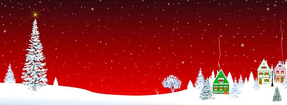 Little village on Christmas Eve on a red background. Christmas tree and star in the sky. Snow-covered village. Night. Winter rural landscape on Christmas Eve.