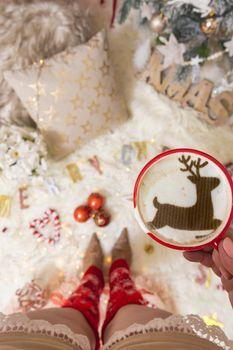 Christmas cheery mug of coffee festive cappuccino