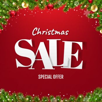 Christmas Sale Poster With Christmas Tree With Gradient Mesh, Vector  Illustration