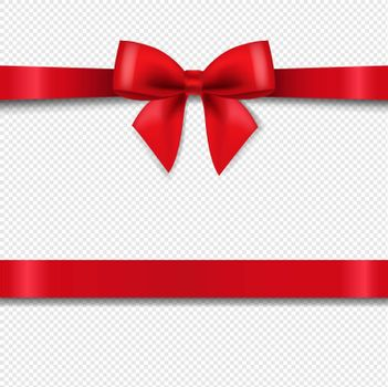 Red Bow Isolated Transparent Background With Gradient Mesh, Vector Illustration