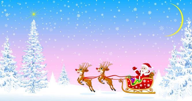 Santa on a sleigh with deers welcomes. Christmas tree. Star in the sky. Snowy forest. Santa on the background of fir trees and snowflakes.