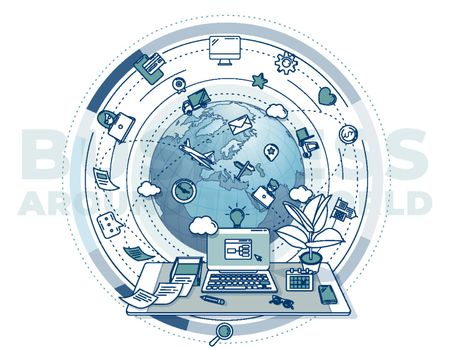Business around the world - complex illustration for promotional poster.