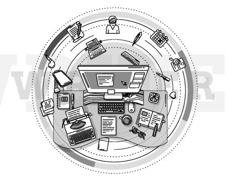 Poster illustrating the workplace of a writer or copywriter.