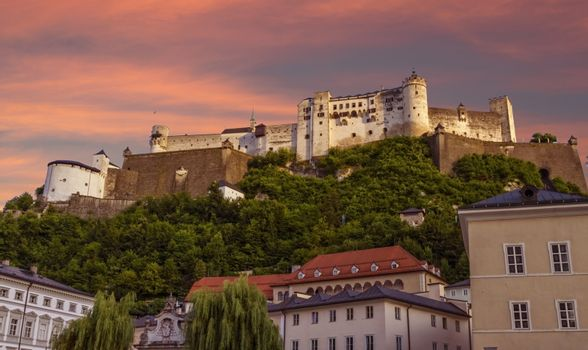 Famous Hohensalzburg Fortress on a hill in Salzburg by day, Austria