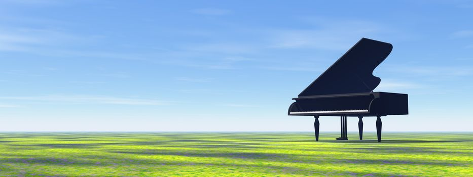 Black piano in the nature with grass by day - 3D render